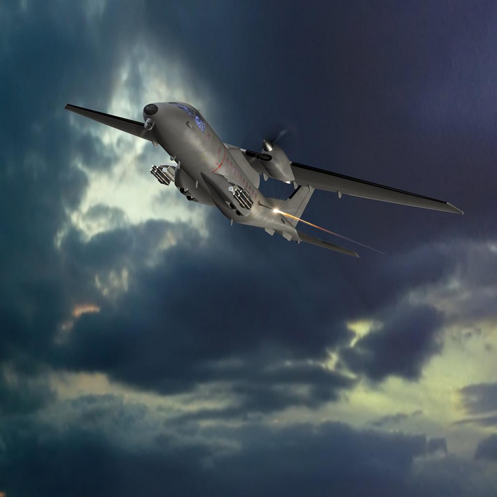 Imagen artística de un CN 235 cañonero, utilizado por la Fuerza Aérea de Jordania.