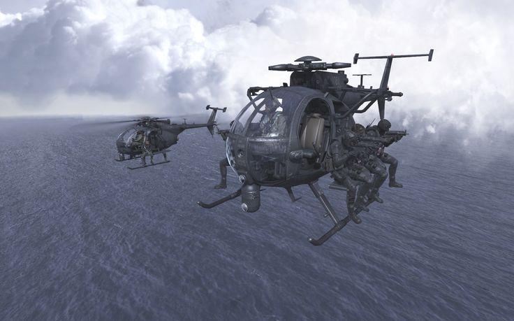 Imagen artística de dos MH-6 Little Bird con componentes de un equipo de operaciones especiales a bordo.
