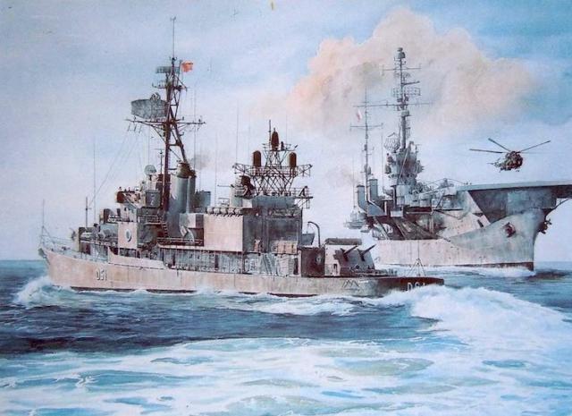 Portaaeronaves Dédalo y destructor Churruca, buques de la Armada de los 80, en un cuadro de Aledo.