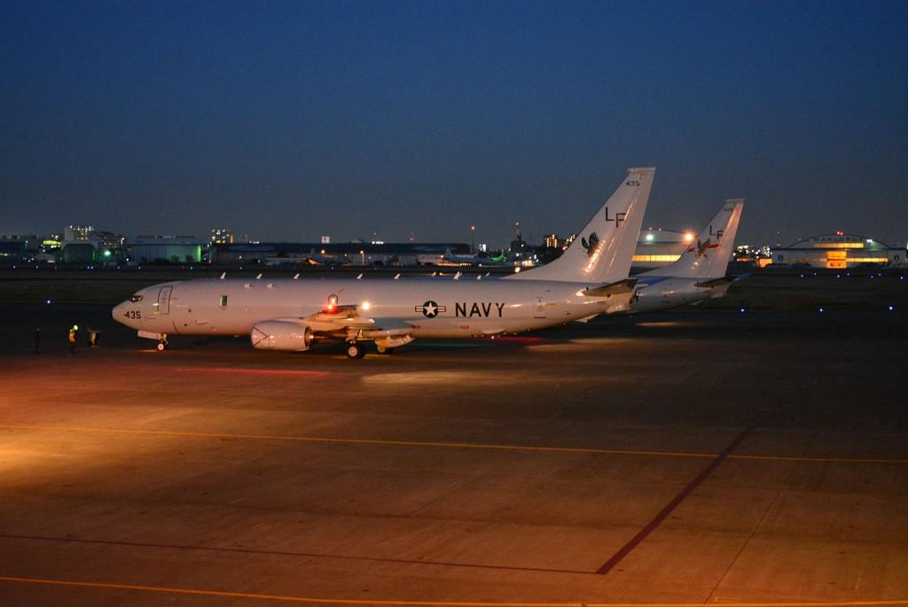 P-8 Poseidón en la base aérea de Atsugi, Japón, probable punto de partida del avión interceptado.