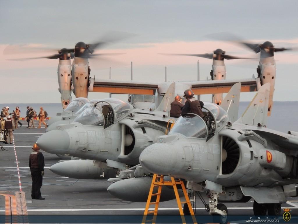 MV-22 Ospreys. Se ha especulado con la posibilidad de adquirir este modelo pero, por un lado, limitarían las plataformas capaces de operarlo, y por otro se trata de una aeronave de alto coste de adquisición.