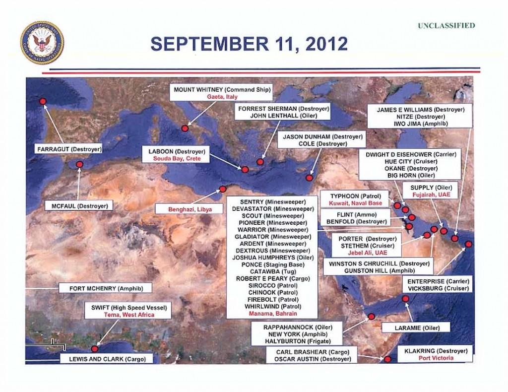 Localización de los buques de la US Navy el día del ataque.