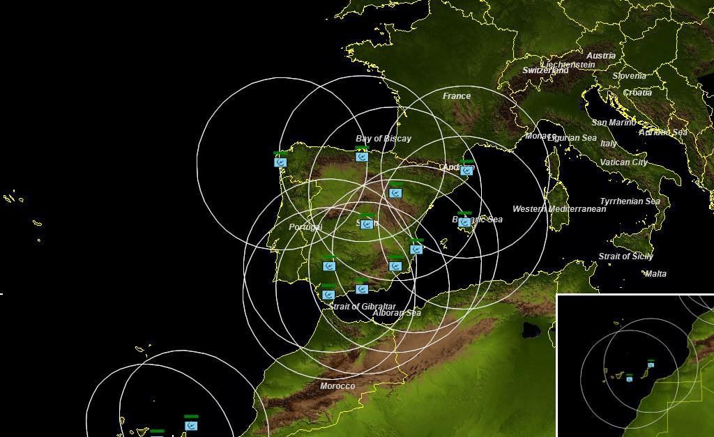 Cobertura radar de la red de Escuadrones de Vigilancia Aérea.
