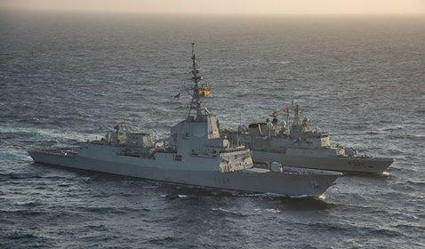 Actualmente, la fragata española Méndez Núñez y la portuguesa Alvares Cabral navegan juntas como parte de la SNMG-1.