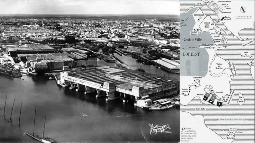 Imagen de la década de los 40 de Lorient, y plano con la disposición de los muelles para submarinos.