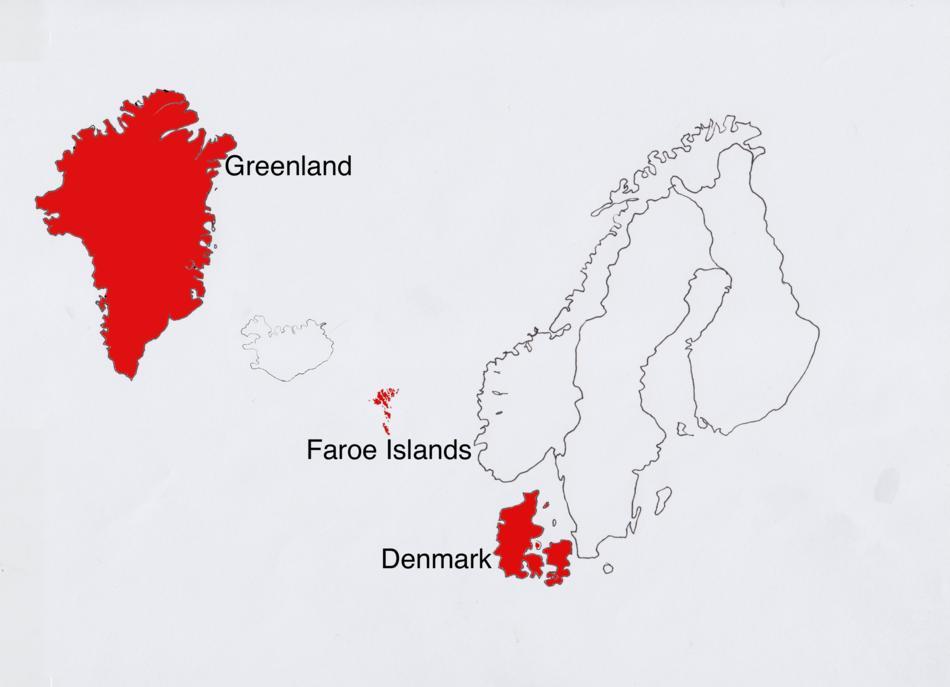 """Dinamarca y sus territorios """"no continentales""""."""